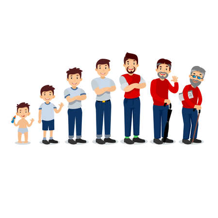Generations man. Mensen generaties op verschillende leeftijden. Alle leeftijdscategorieën - kinderschoenen, kindertijd, adolescentie, jeugd, volwassenheid, ouderdom. Stadia van ontwikkeling. Vector