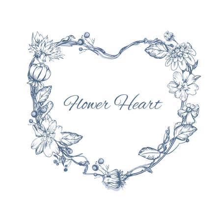 Elemento floreale per le schede invito a nozze. forma di cuore. Fiore vettore concetto di design. Vettore