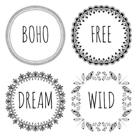 Set of Boho Style Frames and hand drawn elements. Set of Ornamental Boho Style Elements.