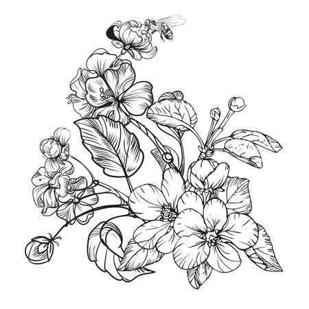 Vintage elegant flowers. Black and white vector illustration for your works. Botany.
