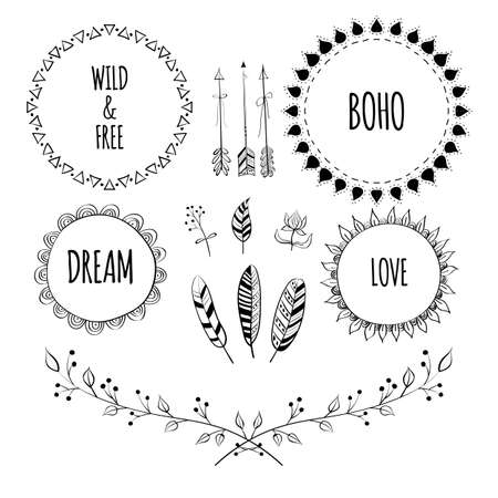 Set of Boho Style Frames and hand drawn elements. Hand drawn sign in boho style with arrows and feathers. Set of Ornamental Boho Style Elements. Illustration