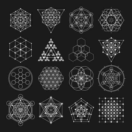 elementi di design geometria sacra. la religione alchimia, filosofia, spiritualità simboli vita bassa ed elementi. Vettoriali