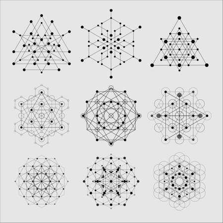 Elementi di design di geometria sacra. Religione alchemica, filosofia, spiritualità simboli ed elementi hipster. Vettoriali