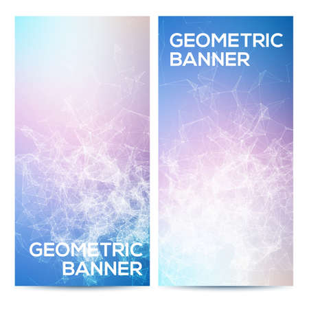 bright: Vector horizontal banners set with polygonal abstract shapes, with circles, lines, triangles. Polygonal banners for geometric designs.