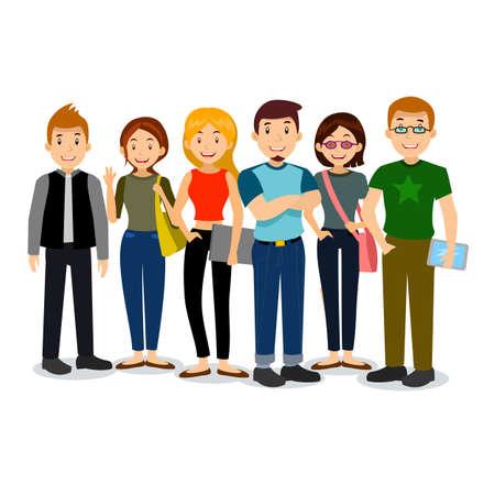 Set di diversi college o studenti universitari. vettore gruppo di studenti. Cartoon illustrazione vettoriale di studenti. Vettoriali