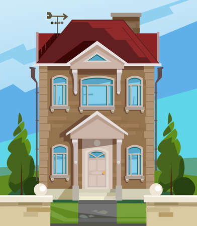 facade: Vector illustration of house. English house facade. Colorful Flat Residential House. Illustration of a cartoon house in spring or summer season Illustration