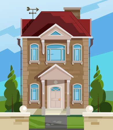 english house: Vector illustration of house. English house facade. Colorful Flat Residential House. Illustration of a cartoon house in spring or summer season Illustration