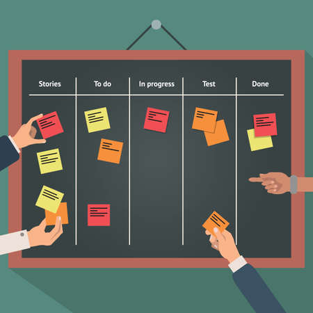 business plan: Illustration of scrum agile board with flat hand and stickers.