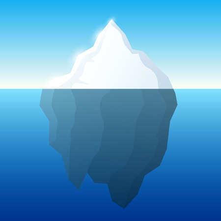 tip of iceberg: Iceberg illustration and background. Iceberg on water concept.