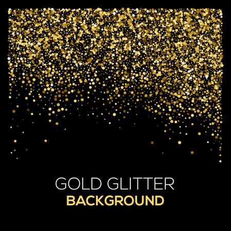 Gold confetti glitter on black background. Abstract gold dust glitter background. Golden explosion of confetti. Golden grainy abstract background.
