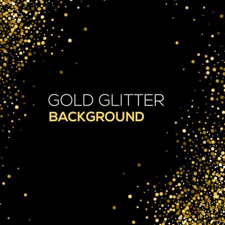 검은 색 바탕에 골드 색종이 반짝이. 추상 골드 먼지 반짝이 배경입니다. 색종이의 황금 폭발. 황금 거친 추상적 인 배경 일러스트