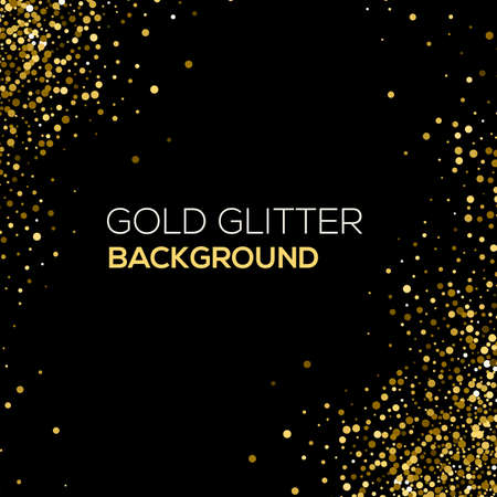 black background abstract: Gold confetti glitter on black background. Abstract gold dust glitter background. Golden explosion of confetti. Golden grainy abstract background