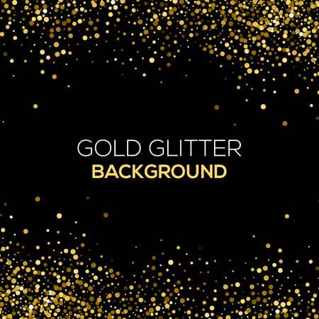 Or confetti paillettes sur fond noir. Résumé de la poussière d'or glitter background. explosion d'or de confettis. Or abstrait granuleuse Vecteurs