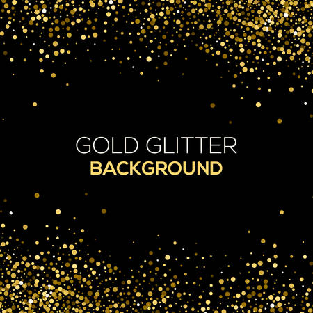 Gold confetti glitter on black background. Abstract gold dust glitter background. Golden explosion of confetti. Golden grainy abstract background