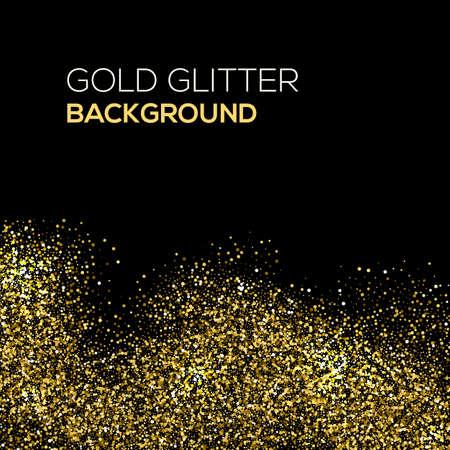 Or confetti paillettes sur fond noir. Résumé de la poussière d'or glitter background. explosion d'or de confettis. Or abstrait granuleuse