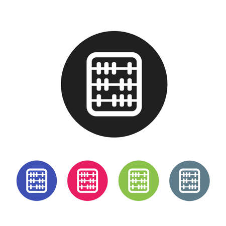 old style retro: Retro old abacus icon. Colored abacus icon in material design style.