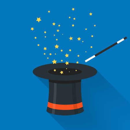 abracadabra: Abracadabra cartoon concept. Magic wand with stars sparks above black magic hat.