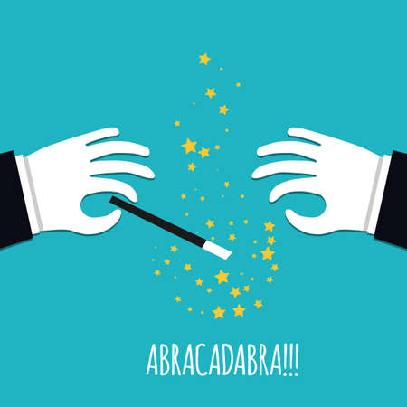 abracadabra: Abracadabra cartoon concept. Cartoon Magicians hands in white gloves holding a magic wand with stars sparks. Abracadabra flat design on green background