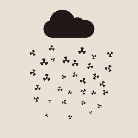 kwaśne deszcze: Kwaśne deszcze i chmura radioaktywna płaskim koncepcji.