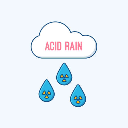 kwaśne deszcze: Acid rain and radioactive cloud flat concept. Ilustracja
