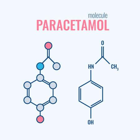 Paracétamol acétaminophène molécule analgésique de la drogue. médicaments anti-inflammatoires non stéroïdiens, les formules chimiques structurelles stylisées ligne plat et formule squelettique conventionnelle.