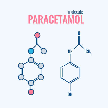 structural formula: Paracetamol acetaminophen analgesic drug molecule. non-steroidal anti-inflammatory drugs, structural chemical formulas Stylized flat line and conventional skeletal formula.