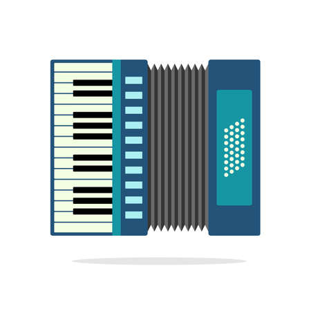 accordion: Real Accordion flat icon isolated on background. Illustration