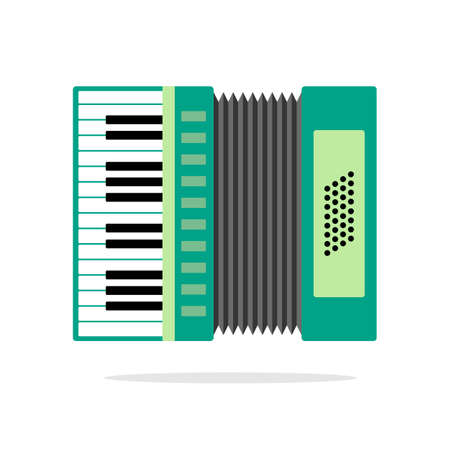 concertina: Real Accordion flat icon isolated on background. Illustration