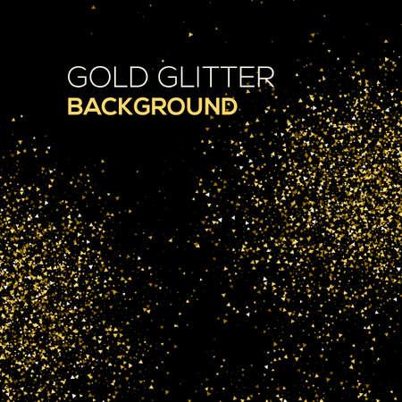 Or confetti paillettes sur fond noir. Résumé de la poussière d'or glitter background. explosion d'or de confettis. Or abstrait granuleuse. Vecteurs