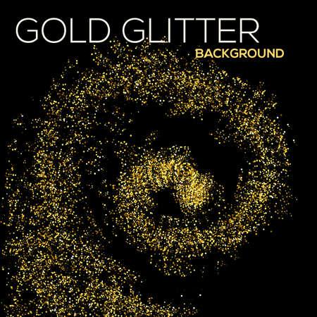 black star: Gold confetti glitter on black background. Abstract gold dust glitter background. Golden explosion of confetti. Golden grainy abstract background.