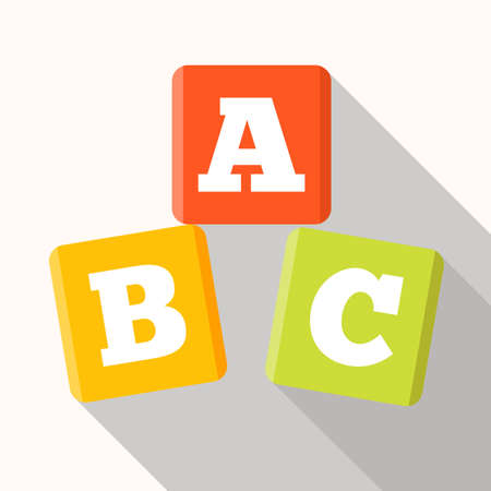basic letters: ABC blocks flat icon with long shadow.