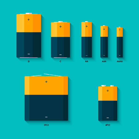 9v battery: Set of batteries of different sizes. AAAA, AAA, D, C and AA batteries.