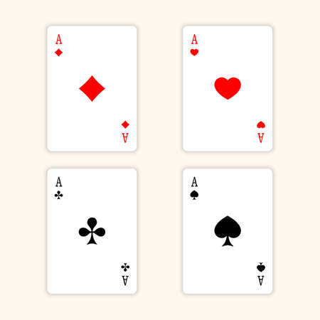ace: Aces Playing Cards. Set of illustration of ace playing cards. Illustration