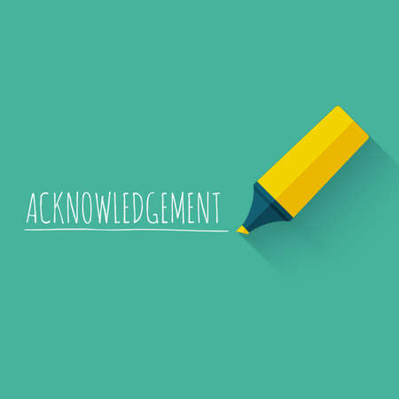 acknowledgment: Acknowledgment word concept design with yellow pencil or marker. Illustration