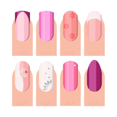 french style: Female manicure set. French manicure style as icons set in color and flat style illustration
