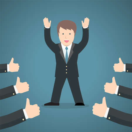 thumbup: Successful businessman acknowledging many thumbs up around him. Conceptual design for success and achievement.