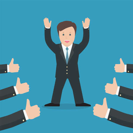 acknowledging: Successful businessman acknowledging many thumbs up around him. Conceptual design for success and achievement.