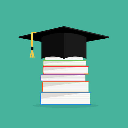 hat cap: Academic books with hat on they. Graduation cap with books concept design. Illustration