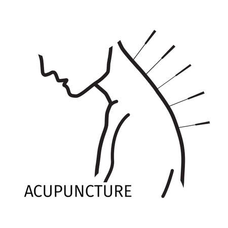 Acupuncture icon in line style. Çizim