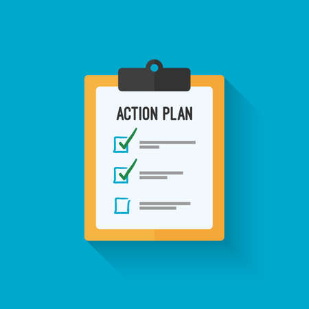 action plan: Action plan clipboard icon design over a blue background. Board goal check list icon.