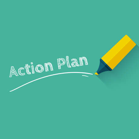 action plan: Action plan concept design. Board goal check list icon. flat style design with long shadow. Illustration