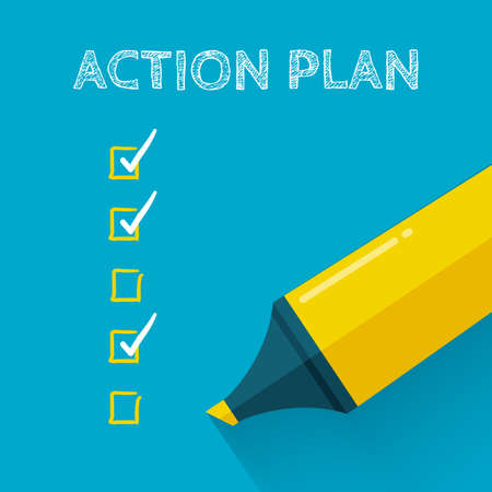 action plan: Action plan concept design with yellow pencil or marker. Flat style with long shadow. Goal check list icon.
