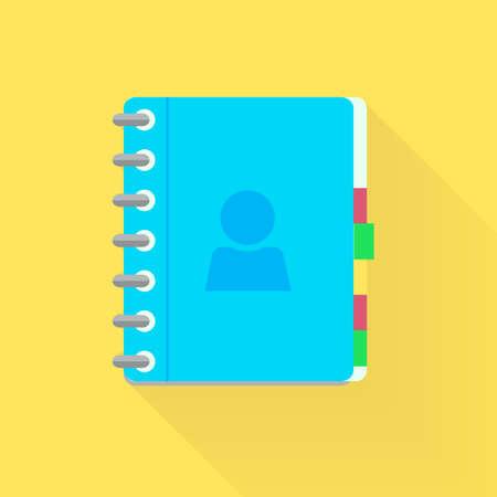 Address phone book, notebook icon. Flat style design.