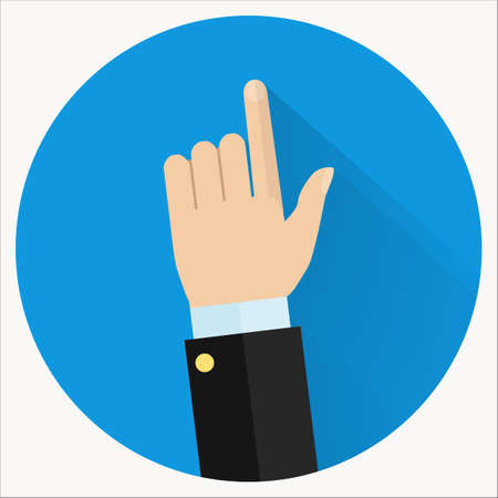 advice: Advice icon. Businessman hand with pointing finger. Consultant giving advice. Illustration