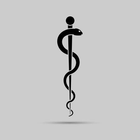 Aesculapius medical symbol or symbol featuring a snake around a rod.