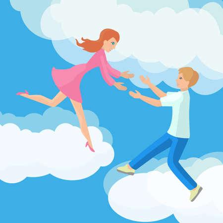 afecto: Afecto pareja joven en nubes plana ilustración.