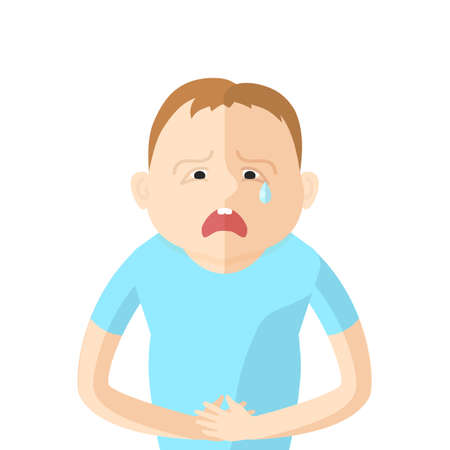 constipation symptom: Children have an abdominal pain. Character in Flat style vector illustration Illustration
