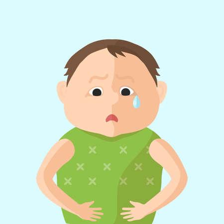 abdominal pain: Los ni�os tienen un dolor abdominal. Personaje en la ilustraci�n del vector del estilo Flat Vectores