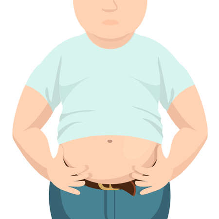 belly fat: Abdomen fat, overweight man with a big belly.