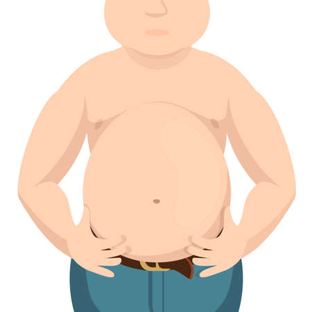 overeating: Abdomen fat, overweight man with a big belly.